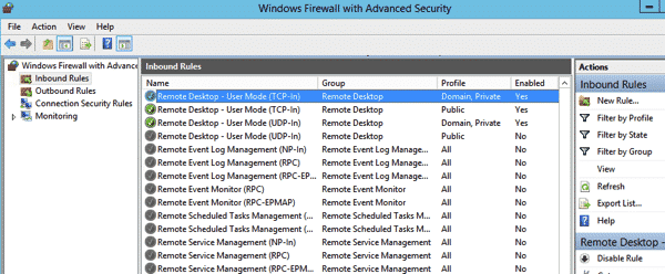 Windows 2012 Remote Desktop Firewall Rule