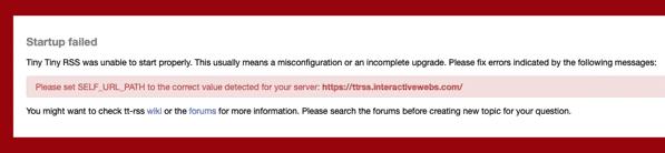 TTRSS Please set SELF URL PATH