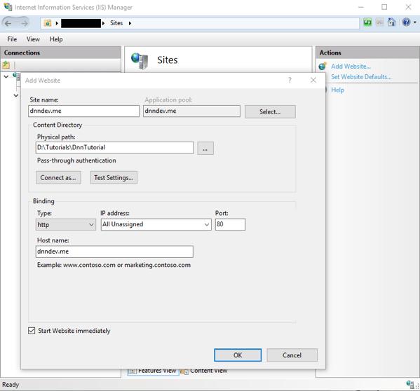 DnnInstall 3b IIS CreateSiteSettings