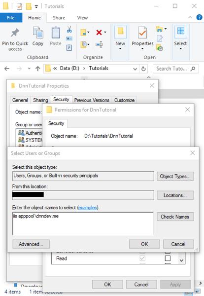 DnnInstall 4c FolderSecurity AddAppPool