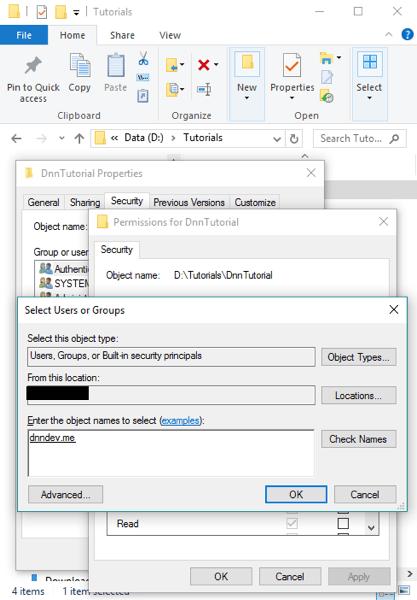 DnnInstall 4d FolderSecurity AddAppPool CheckNameSuccess
