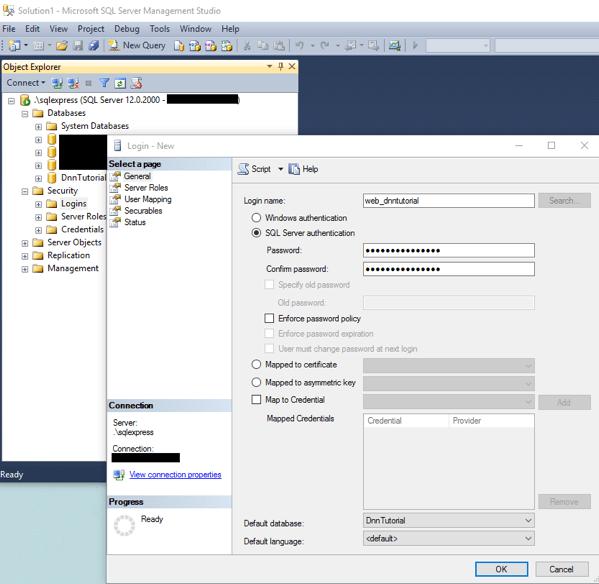 DnnInstall 5b ConfigureSql CreateUser