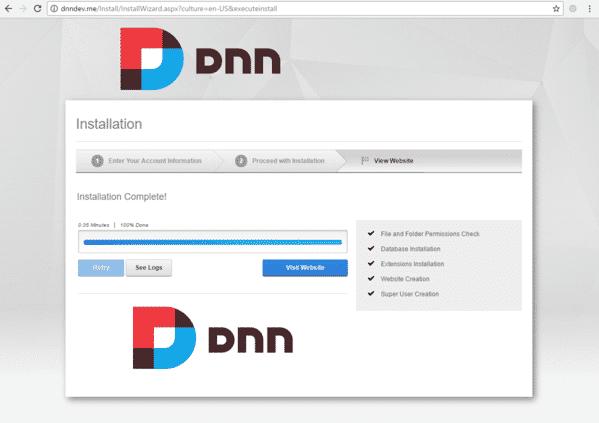 DnnInstall 6c WebsiteInstaller Success 1024x723