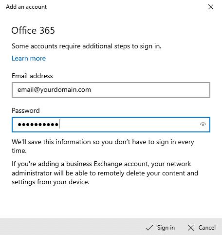 Echange Email Password