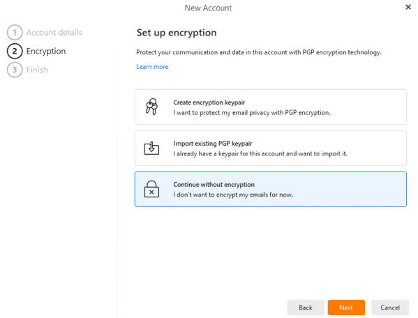 eM Client Encryption Options
