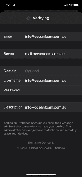 Email Exchang Verification iOS