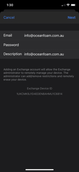 Exchang eMail Password Prompt iPhone