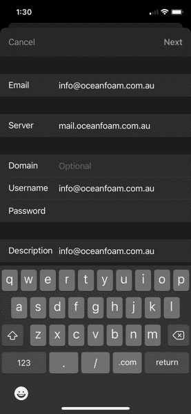 Server Address Exchang Email iOS