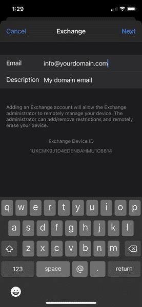 Setup Exchang Email iPione